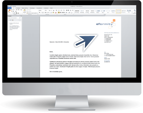 A screen displaying an eformity document in Microsoft Word